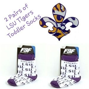 ⚜ 2 Pairs FBF Originals LSU Tigers Toddler Socks ⚜